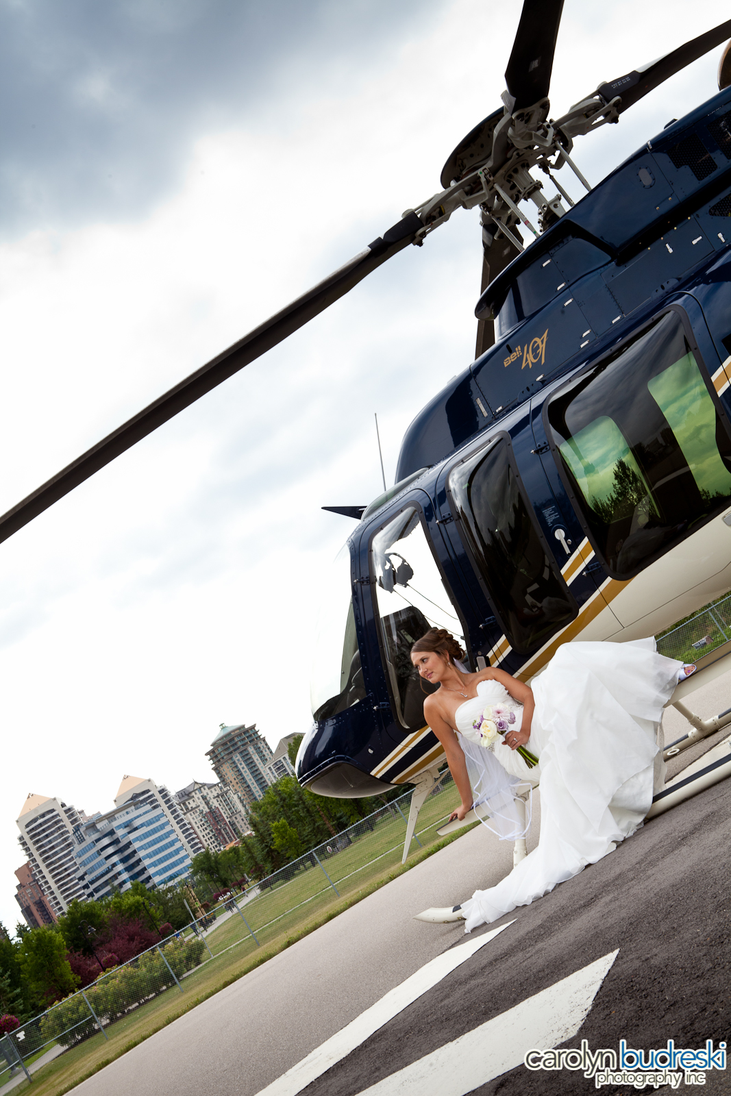 Calgary Helicopter Wedding Photo