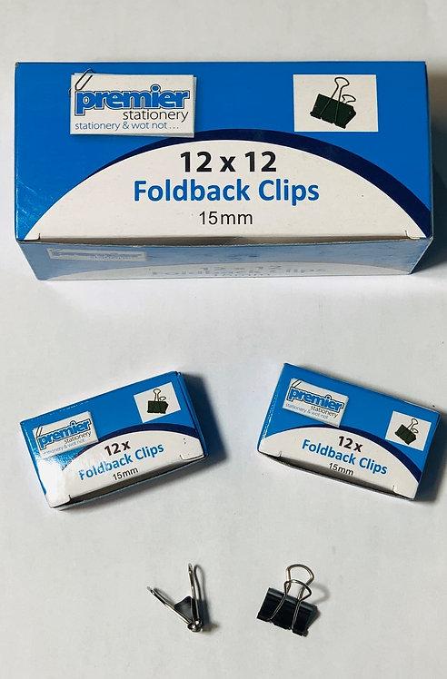 Premier Foldback Clips 15MM - Box 12