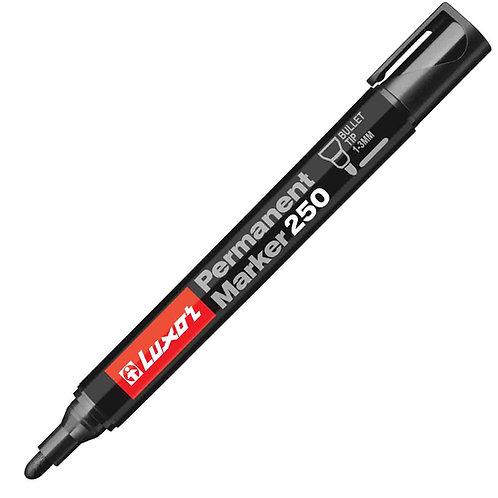 Luxor Permanent Marker 250, Black, Bullet Point - Box 10