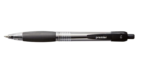 Premier Retractable Ballpoint Pen, Black, Medium 1.0m - Box 12