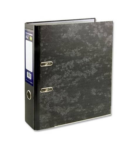 Lever Arch File Marble Board Black Mottle A4 75mm