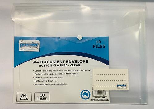 Premier A4 Document Envelope Button Closure, Clear