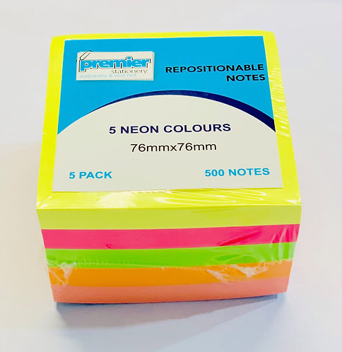 Premier Sticky Notes Pad 76x76mm, Assorted Colours, 500 Sheets