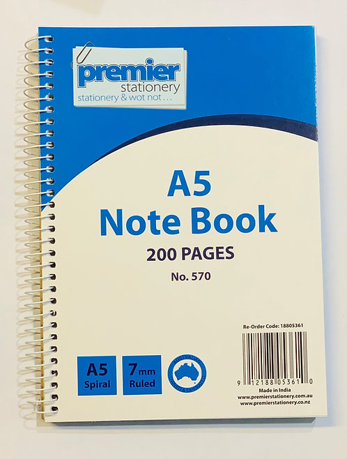 PREMIER A5 SIDE SPIRAL NOTEBOOK 200 PAGES