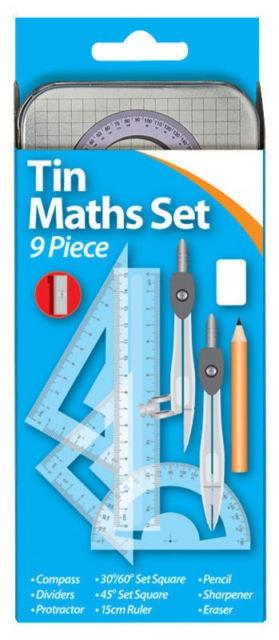 Tin Math Set 9 Pieces