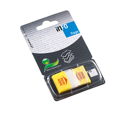 Flags Sign Here Colour Tip Yellow, 50 Sheets