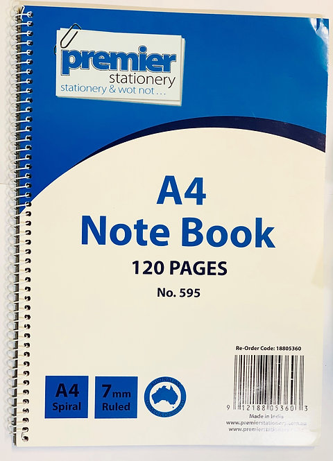 PREMIER A4 SIDE SPIRAL NOTEBOOK 120 PAGES