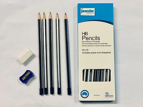 Premier HB Pencils with Eraser & Sharpener Pack 20