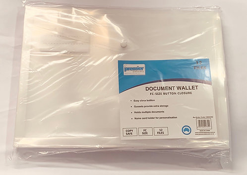 Document Wallet FC Size with Gusset Button Closure