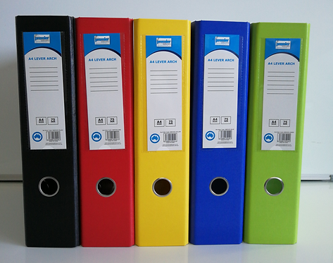 Premier A4 PVC Lever Arch Files Assorted Colours Heavy Duty 75mm