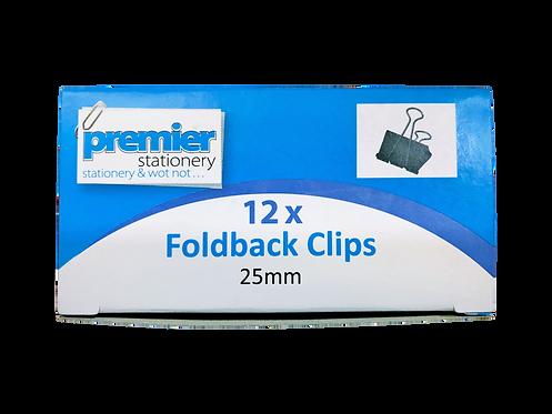 Premier Foldback Clips 25 MM - Box 12