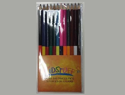 Kidstuff Double Ended Colour Pencils - PK 12