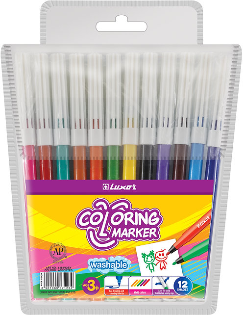 12 Luxor Colouring Texters-Markers - PK 1