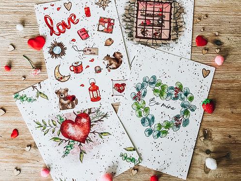 Lot de 4 cartes - Collection St Valentin