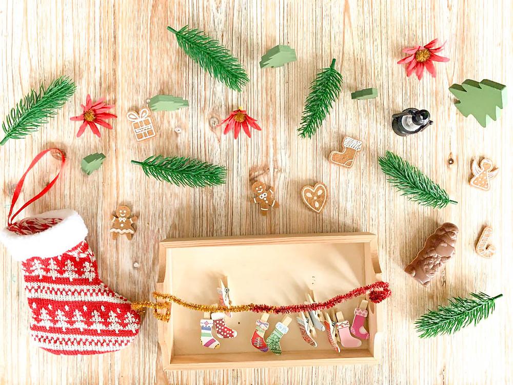 Plateau : Les chaussettes de Noël - Activité de Noël pour enfants