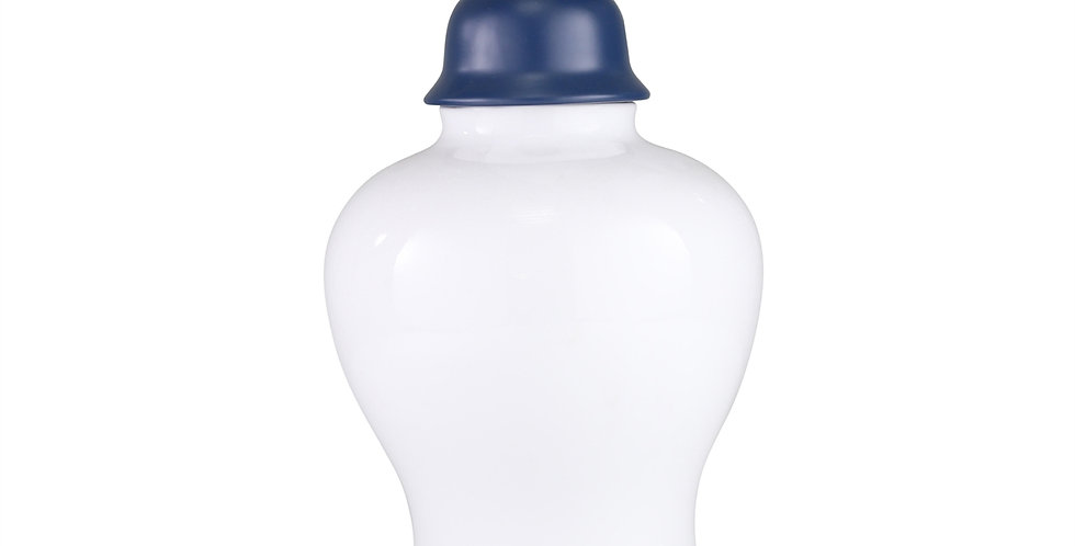 White Jar with Blue Top