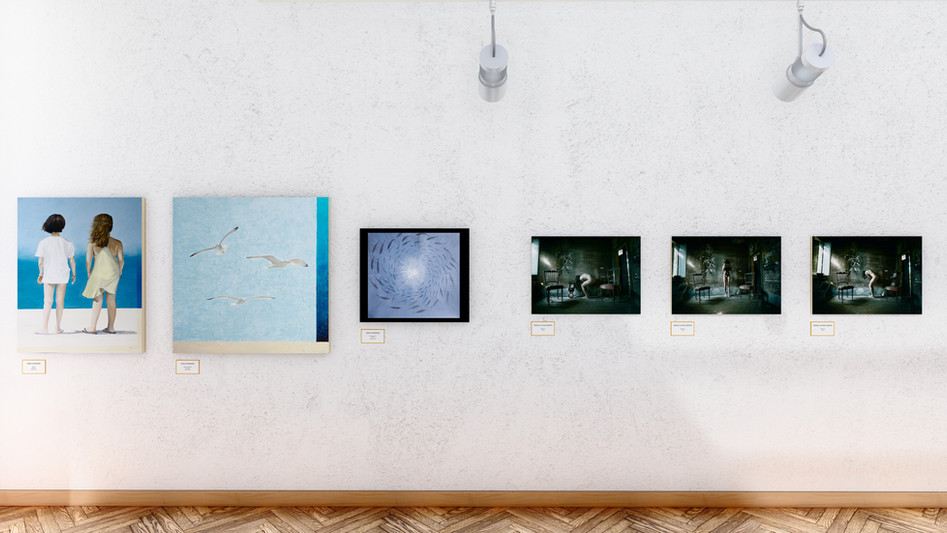Anna Giannone - Futuro 80x100 Olio su tela; - Libertà insieme 100x100 Olio su tela; - Profondo blu 60x70 Olio su tela.  Teresa Letizia Bontà - Time n.1  75x50 -Time n.2 75x50 - Time n.3 75x50