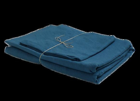 Housse de Couette 140x200 avec 1 Taie - Bleu denim