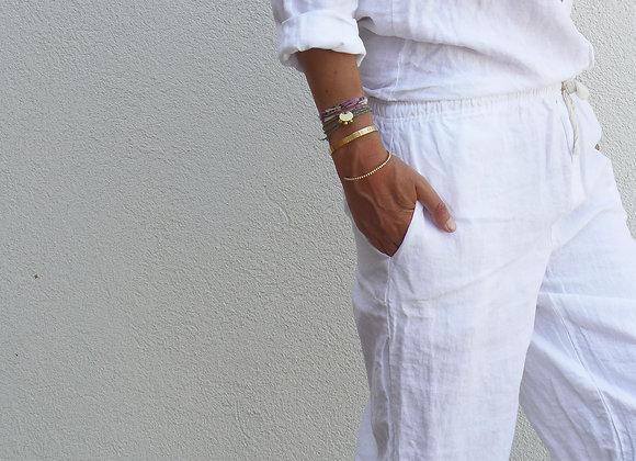 Pyjama lin lavé - Blanc