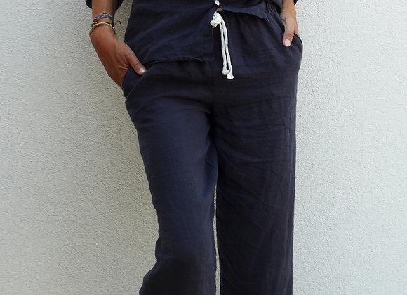 Pyjama lin lavé - Marine