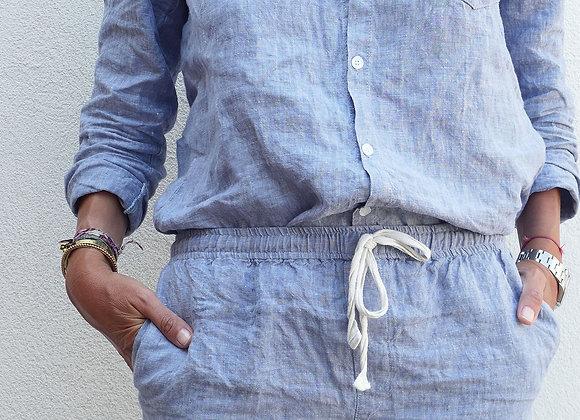 Pyjama lin lavé - Bleu