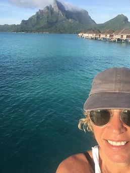 Laurel Samuela, Owner True Tahiti Vacation in front of Mt Otemanu Bora Bora
