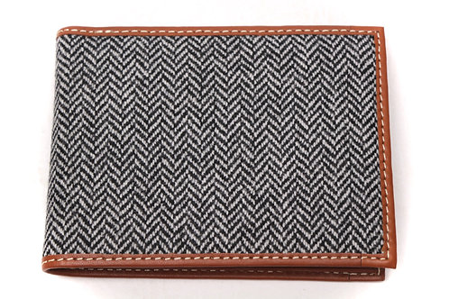 Herringbone Tweed and Leather Wallet