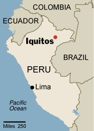 Simple map of Peru showing the location of Iquitos.