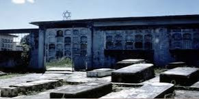 Jewish cemetery with flat raised tombs