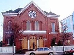 Brick synagogue, Congregation Emanu-El in Victoria