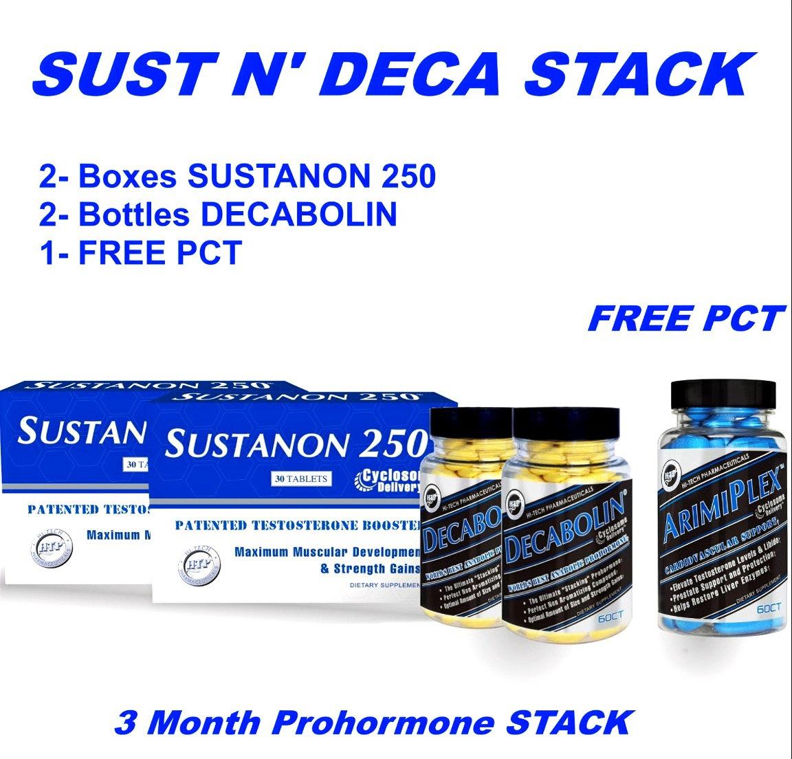 Hi Tech Pharmaceuticals Sustanon 250/ Decabolin w/ Free Arimistane Stack   maxsportsnutrition