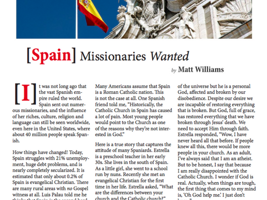 Spain Missionaries Wanted