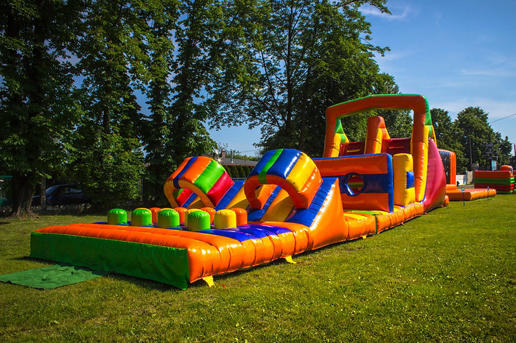 Inflatable, colorful obstacle course in