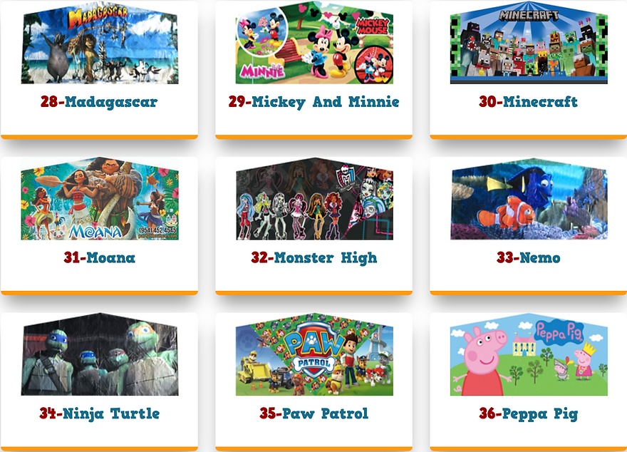 Bounce house theme banner art panels mad
