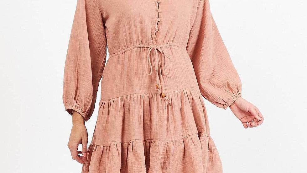 White Closet Skye Dusty Pink Tiered Dress