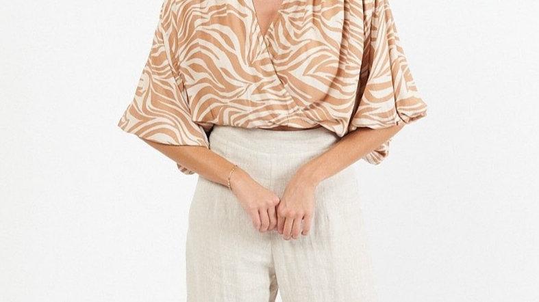 White Closet Scarlett Rust Print Drape Top