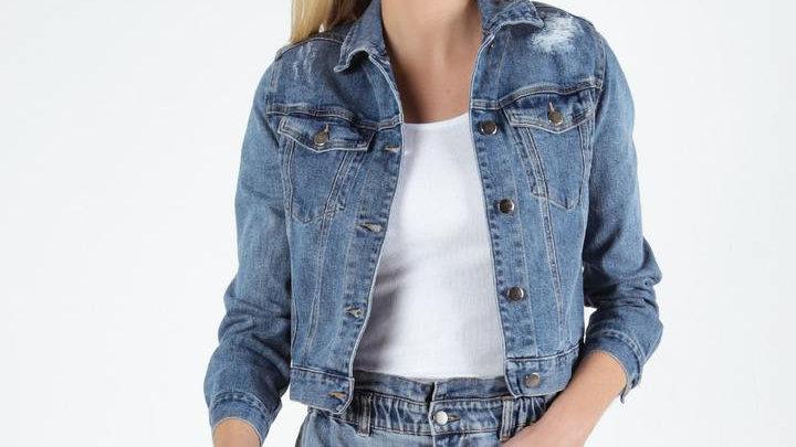 Sass Maxie Indigo Blue Wash Distressed Denim Jacket