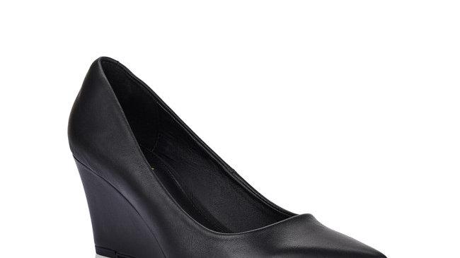 Siren Shoes Brodie Black Leather Wedge