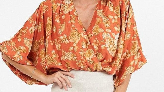 White Closet Nadia Orange Printed Top