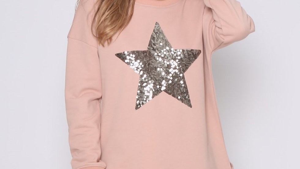 Leoni Star Sequin Sweater Rose