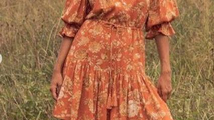 White Closet Nadia Orange Floral Tiered Dress