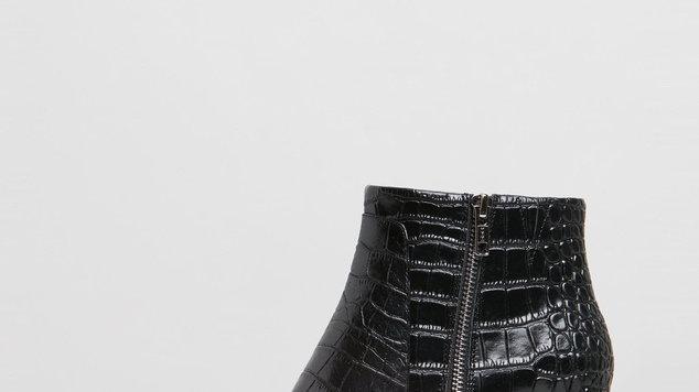Sol Sana Sammy Black Croc Ankle Boots