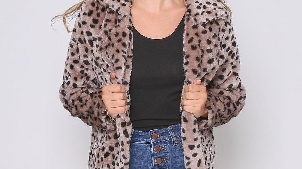 Leoni Monica Mocha/Black Cheetah Teddy Jacket