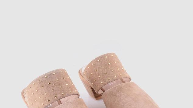 Sol Sana Lincon Stone Suede Mules wooden heel