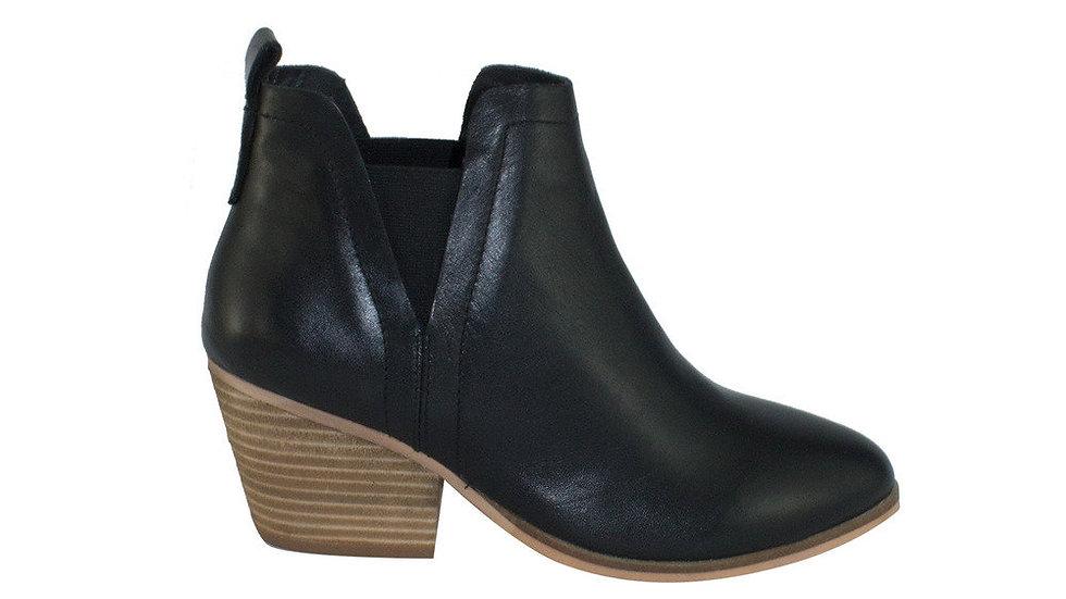 Human Shoes Thea Leather Wood Cuban Heel