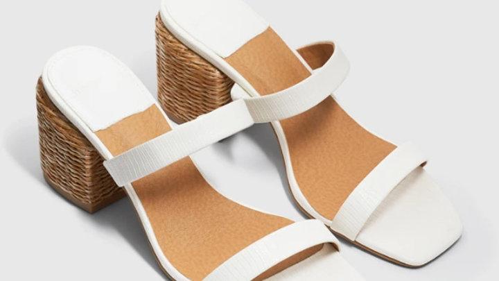 Cherrichella Whisper White Strappy Sandal Rattan Block Heel