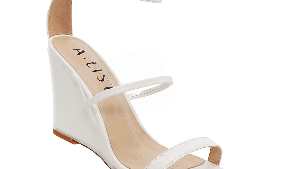 A-List Charlize White Strappy Wedge