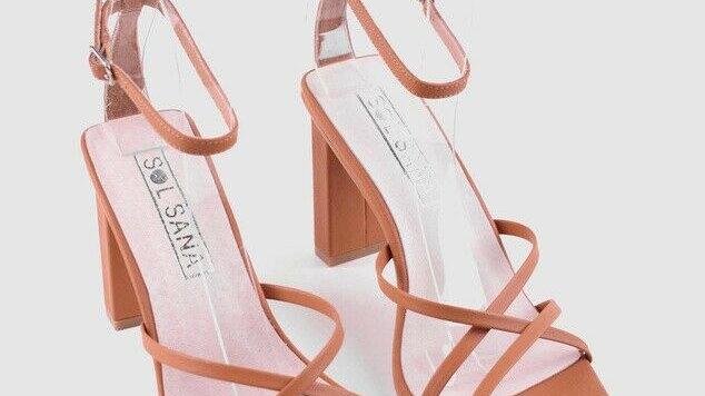 Sol Sana Maya Tan Leather Block Heel
