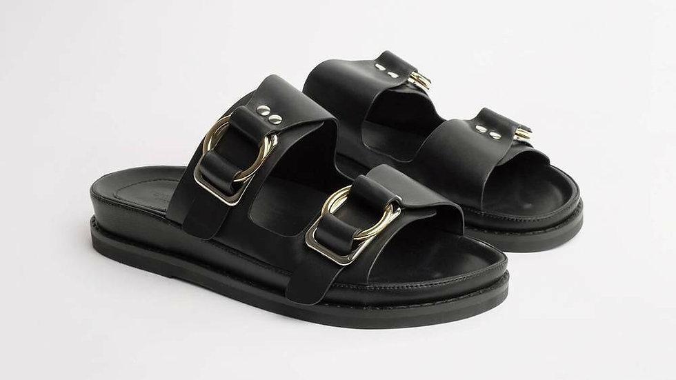 Tony Bianco Hunter Black Leather Slides