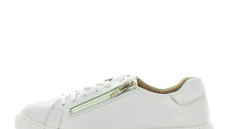 Just Bee Chispa White Leather Sneakers